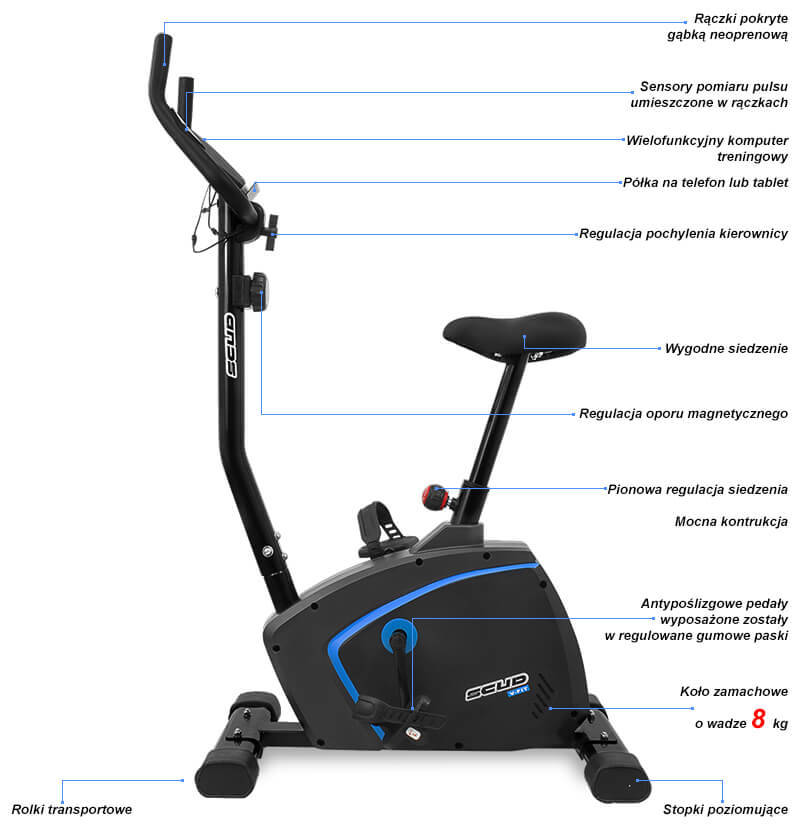 Rower magnetyczny SCUD V-Fit blue