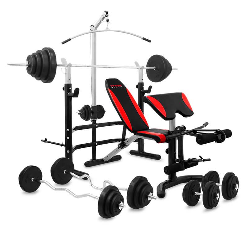 Zestaw 154 kg z ławką  Tytan Sport 5078